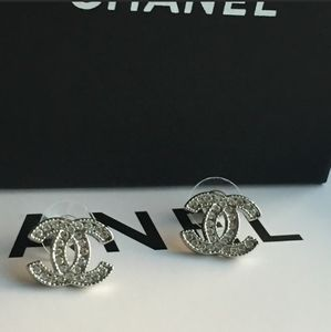 Rhinestones Chanel Earrings Studes Authentic